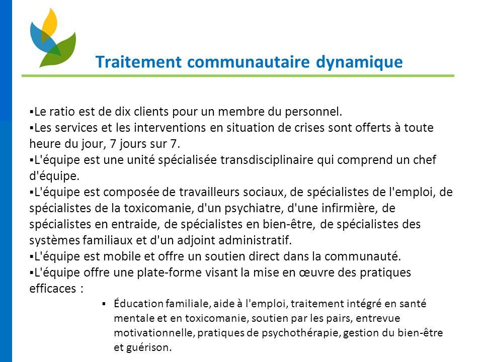 Traitement communautaire dynamique Le ratio est de dix clients pour un membre du personnel. Les services et les interventions en situation de crises s