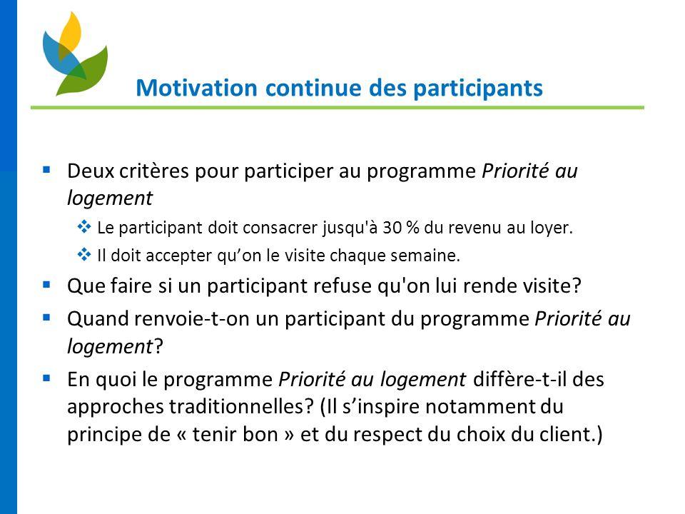 Motivation continue des participants Deux critères pour participer au programme Priorité au logement Le participant doit consacrer jusqu à 30 % du revenu au loyer.