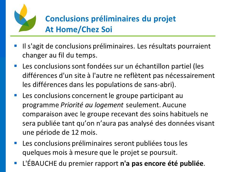 Conclusions préliminaires du projet At Home/Chez Soi Il s'agit de conclusions préliminaires. Les résultats pourraient changer au fil du temps. Les con