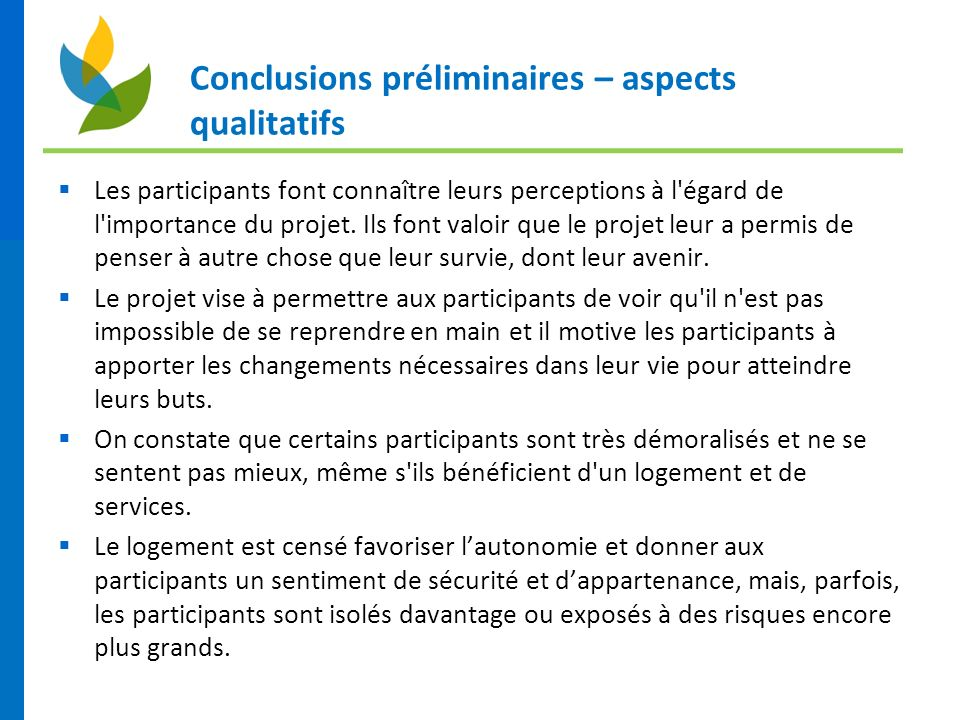 Conclusions préliminaires – aspects qualitatifs Les participants font connaître leurs perceptions à l'égard de l'importance du projet. Ils font valoir