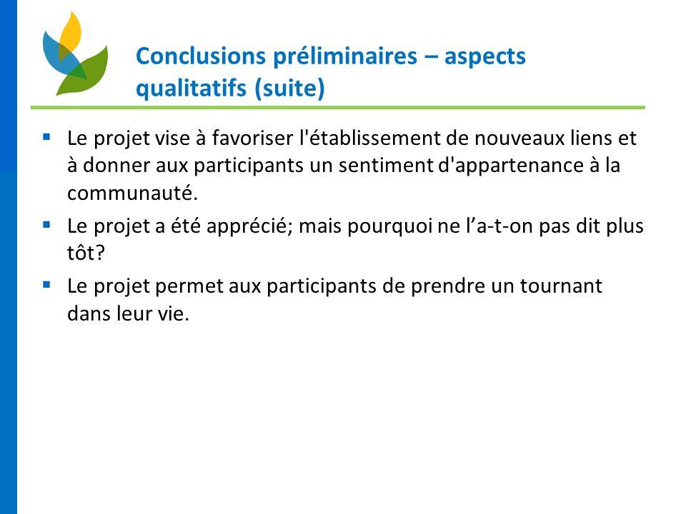 Conclusions préliminaires – aspects qualitatifs (suite) Le projet vise à favoriser l'établissement de nouveaux liens et à donner aux participants un s