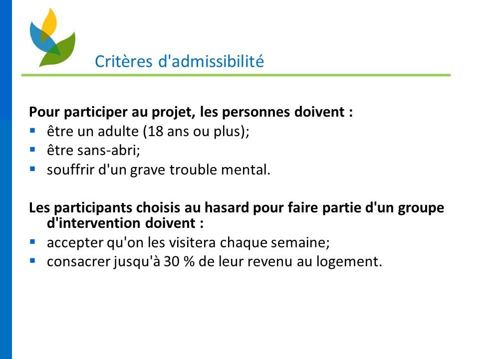 Critères d'admissibilité Pour participer au projet, les personnes doivent : être un adulte (18 ans ou plus); être sans-abri; souffrir d'un grave troub