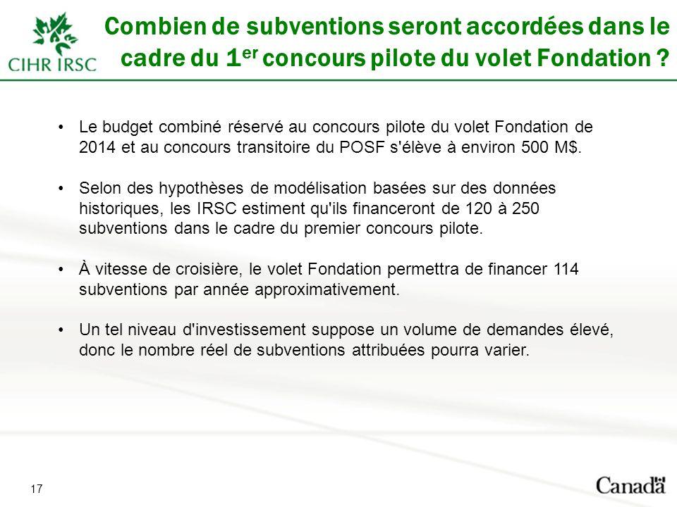 17 Combien de subventions seront accordées dans le cadre du 1 er concours pilote du volet Fondation .
