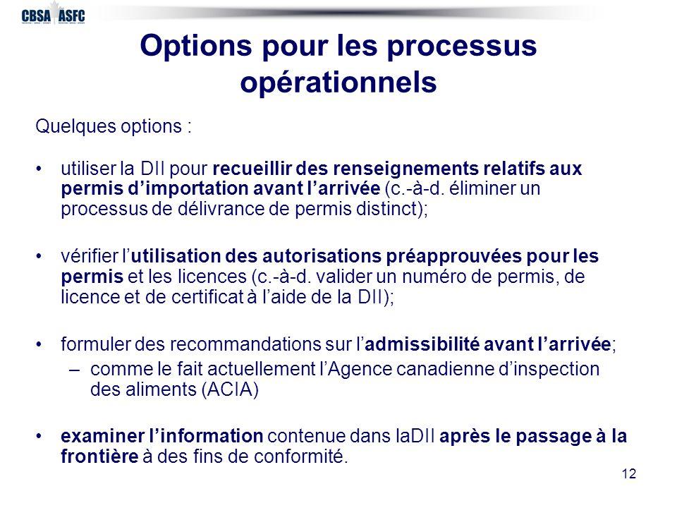 12 Options pour les processus opérationnels Quelques options : utiliser la DII pour recueillir des renseignements relatifs aux permis dimportation avant larrivée (c.-à-d.