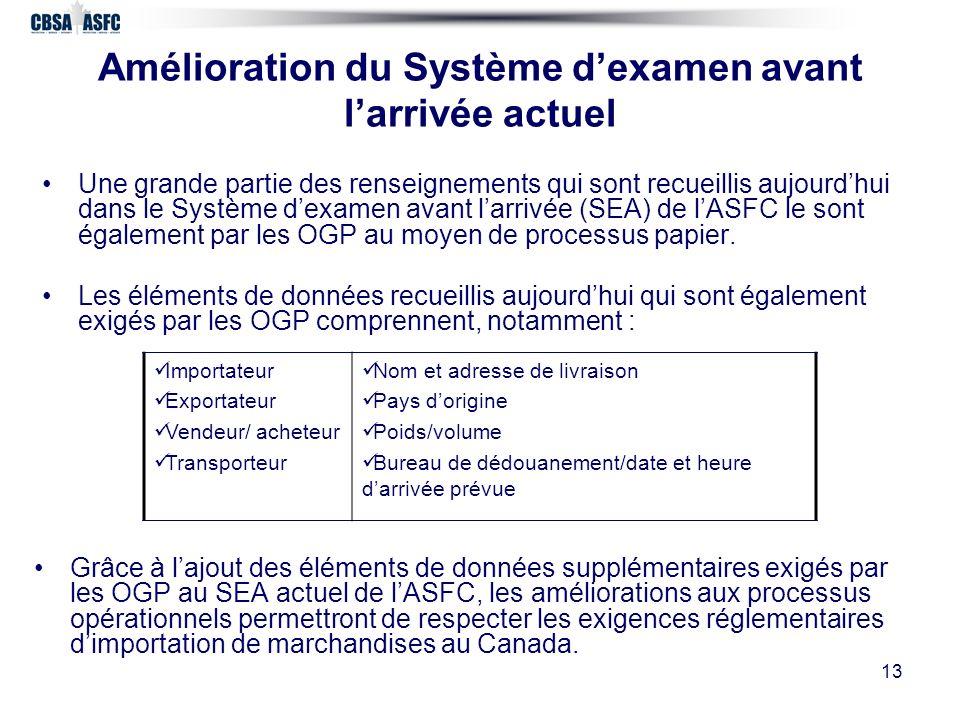 13 Amélioration du Système dexamen avant larrivée actuel Grâce à lajout des éléments de données supplémentaires exigés par les OGP au SEA actuel de lASFC, les améliorations aux processus opérationnels permettront de respecter les exigences réglementaires dimportation de marchandises au Canada.