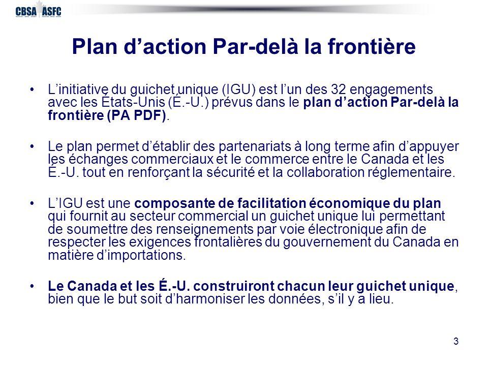 3 Plan daction Par-delà la frontière Linitiative du guichet unique (IGU) est lun des 32 engagements avec les États-Unis (É.-U.) prévus dans le plan daction Par-delà la frontière (PA PDF).