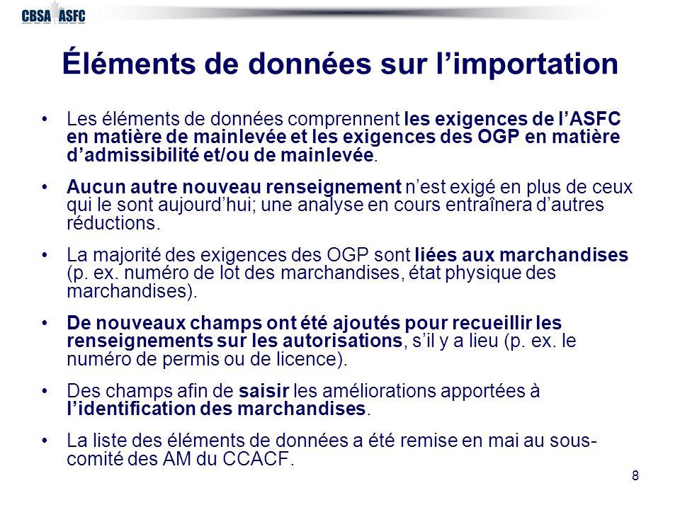 8 Éléments de données sur limportation Les éléments de données comprennent les exigences de lASFC en matière de mainlevée et les exigences des OGP en matière dadmissibilité et/ou de mainlevée.