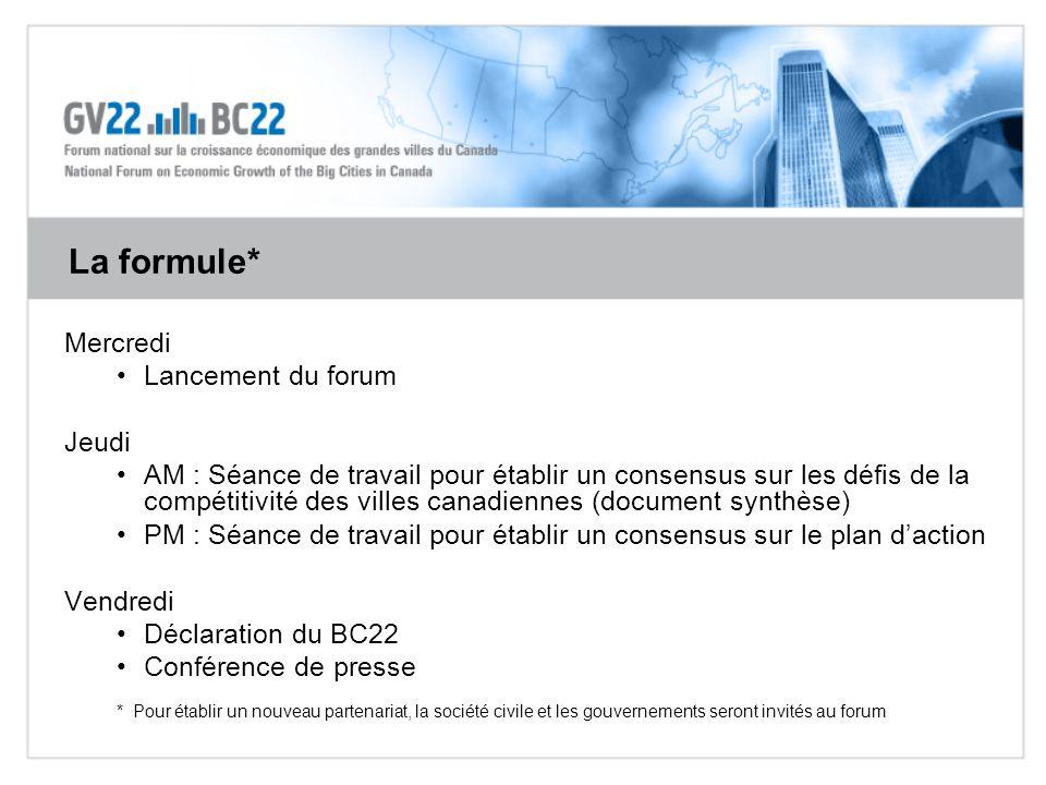Mercredi Lancement du forum Jeudi AM : Séance de travail pour établir un consensus sur les défis de la compétitivité des villes canadiennes (document