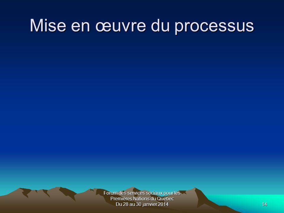 Forum des services sociaux pour les Premières Nations du Québec Du 28 au 30 janvier 201414 Mise en œuvre du processus