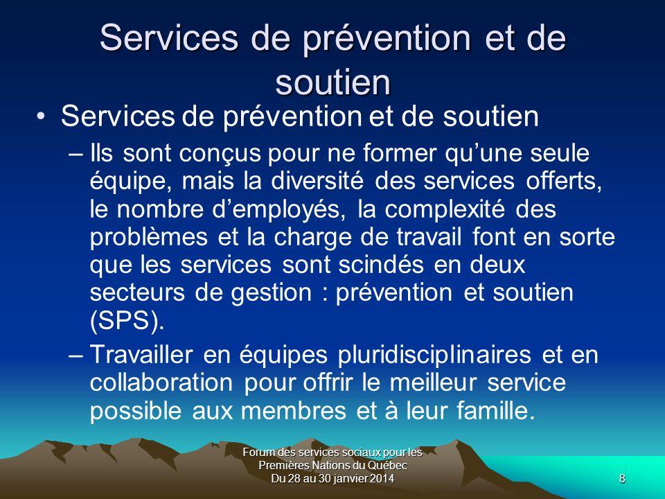 Forum des services sociaux pour les Premières Nations du Québec Du 28 au 30 janvier 20149 Structure actuelle Services de prévention Services de promotion et déducation (communications).