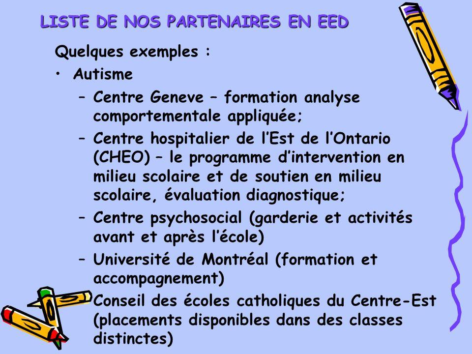 LISTE DE NOS PARTENAIRES EN EED Quelques exemples : Autisme –Centre Geneve – formation analyse comportementale appliquée; –Centre hospitalier de lEst