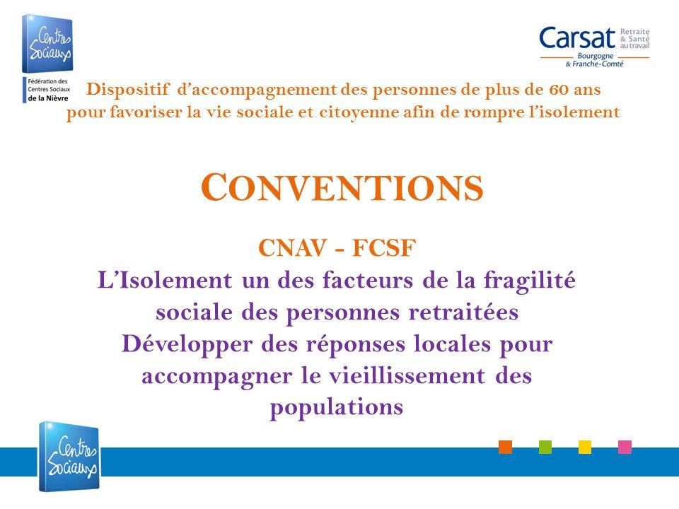 C ONVENTIONS CNAV - FCSF LIsolement un des facteurs de la fragilité sociale des personnes retraitées Développer des réponses locales pour accompagner