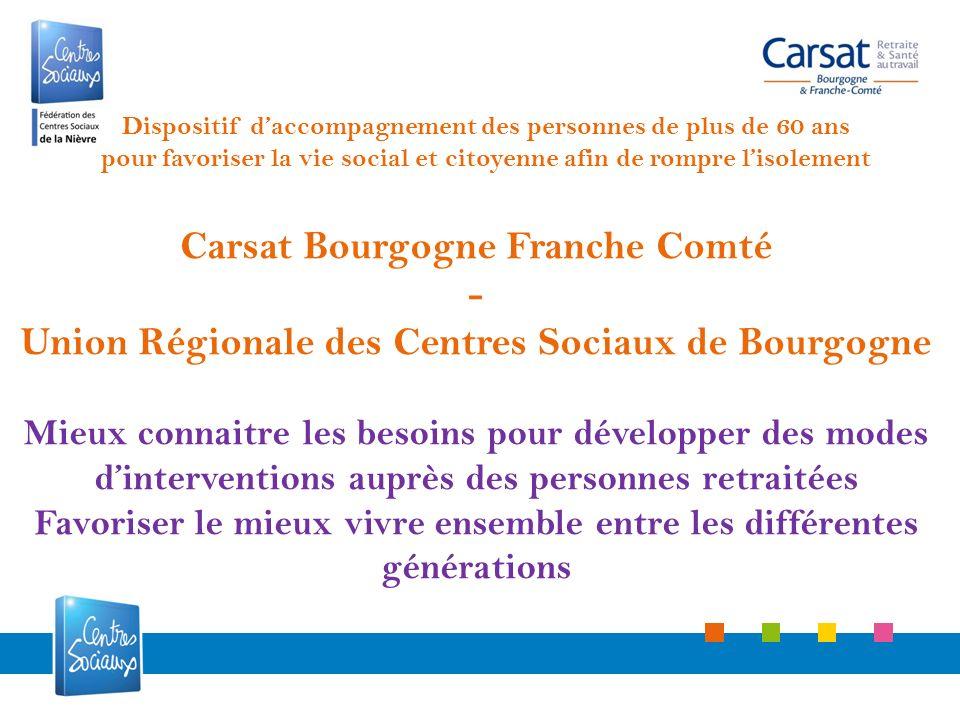 Carsat Bourgogne Franche Comté - Union Régionale des Centres Sociaux de Bourgogne Mieux connaitre les besoins pour développer des modes dinterventions