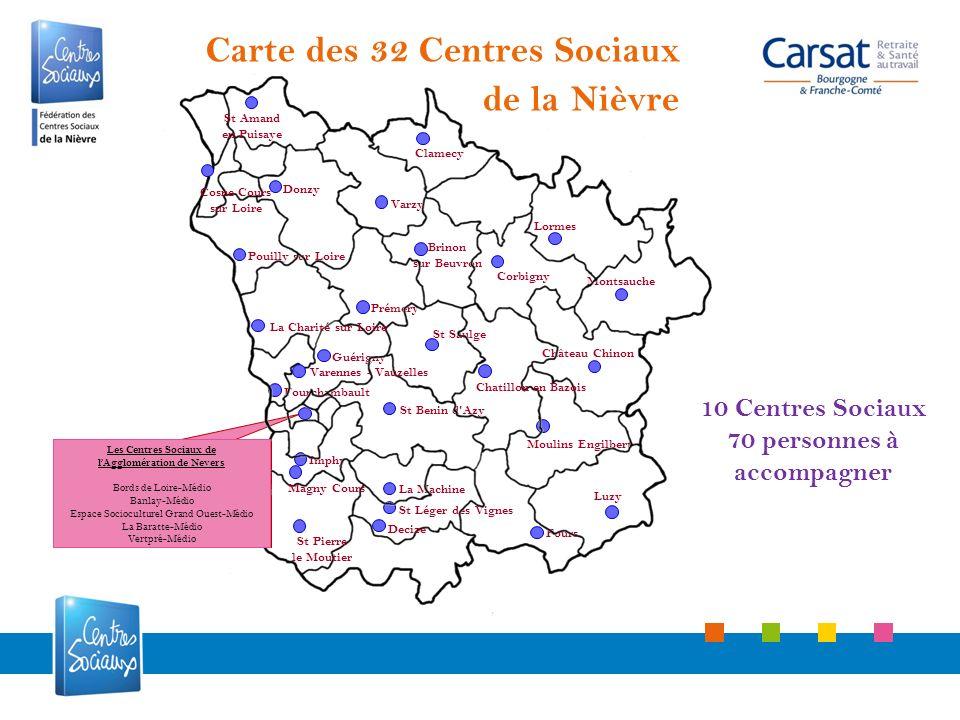 10 Centres Sociaux 70 personnes à accompagner Fours La Machine Imphy Château Chinon Moulins Engilbert Montsauche Lormes Prémery St Saulge Varzy Pouill