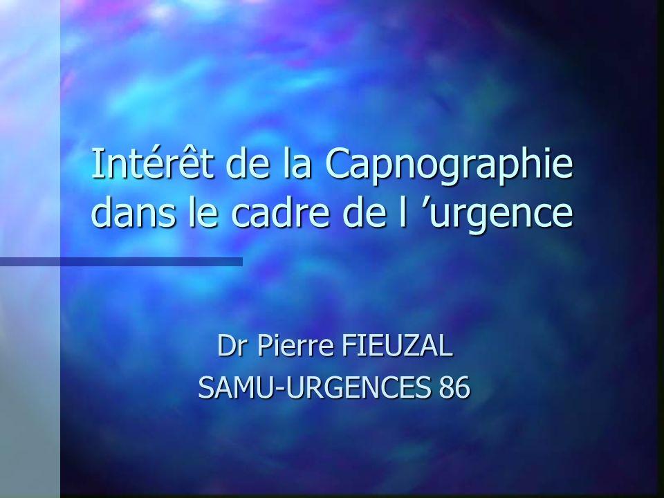 Intérêt de la Capnographie dans le cadre de l urgence Dr Pierre FIEUZAL SAMU-URGENCES 86