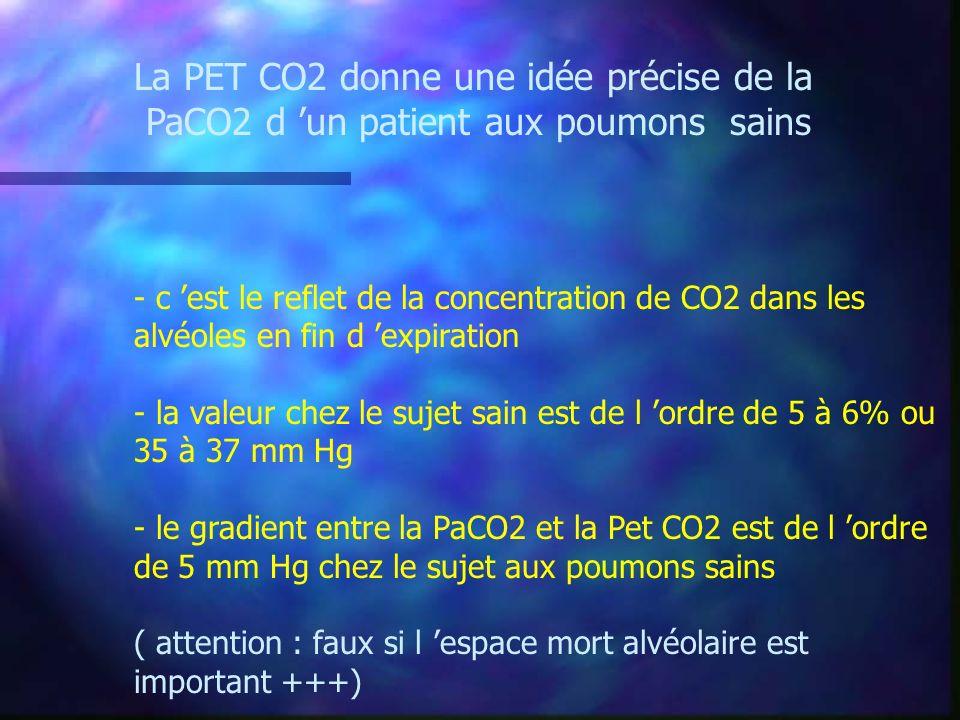 La PET CO2 donne une idée précise de la PaCO2 d un patient aux poumons sains - c est le reflet de la concentration de CO2 dans les alvéoles en fin d e