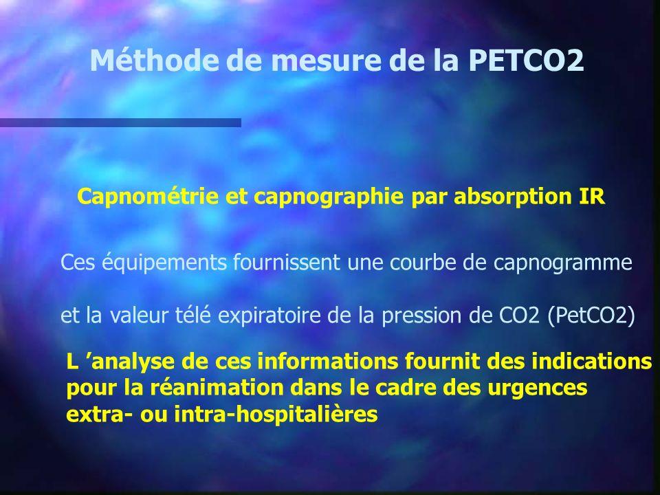 Méthode de mesure de la PETCO2 Capnométrie et capnographie par absorption IR Ces équipements fournissent une courbe de capnogramme et la valeur télé e