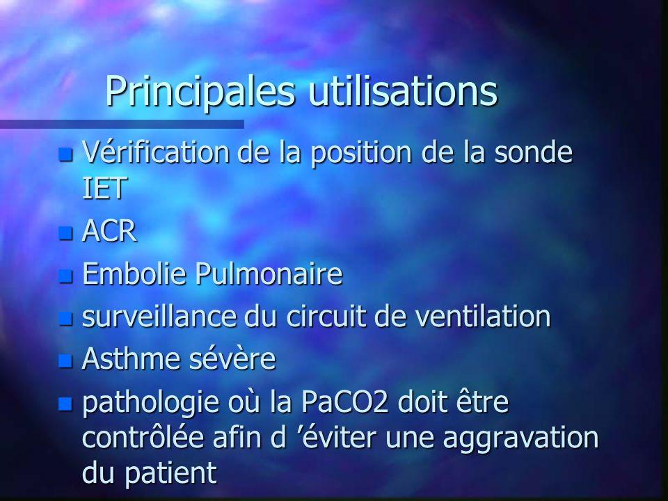 Principales utilisations n Vérification de la position de la sonde IET n ACR n Embolie Pulmonaire n surveillance du circuit de ventilation n Asthme sévère n pathologie où la PaCO2 doit être contrôlée afin d éviter une aggravation du patient