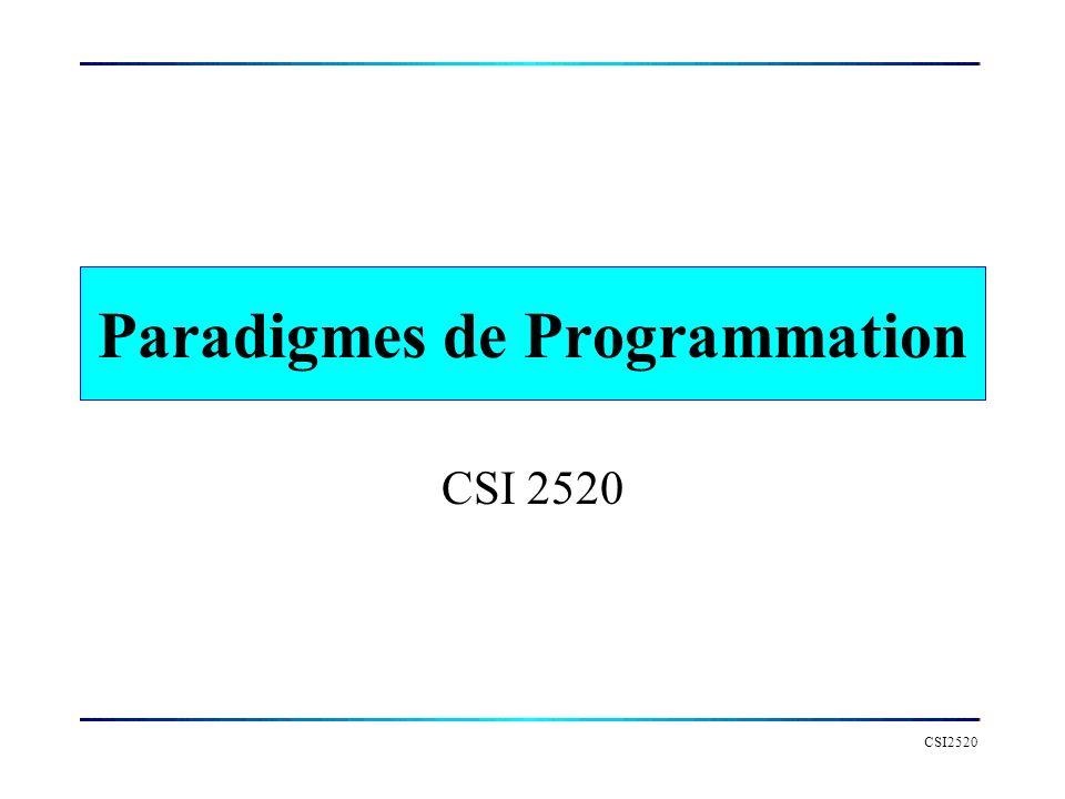 CSI2520, Hiver 2007 Paradigmes de Programmation Paradigme : Modèle théorique de pensée qui oriente la recherche et la réflexion scientifiques (Larousse)..