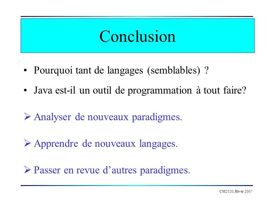 CSI2520, Hiver 2007 Conclusion Pourquoi tant de langages (semblables) ? Java est-il un outil de programmation à tout faire? Analyser de nouveaux parad