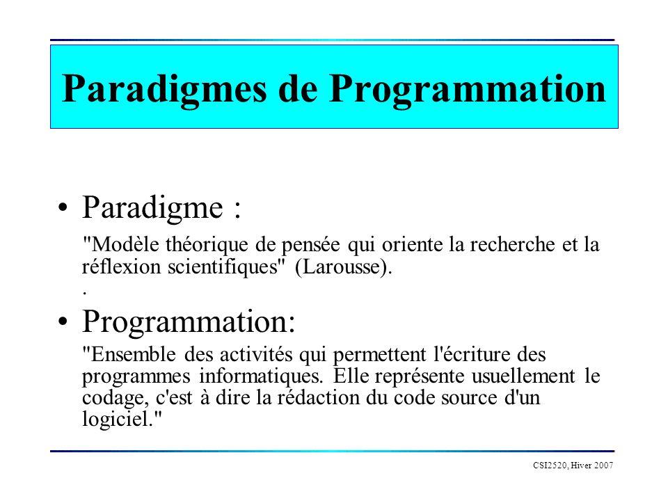 CSI2520 Paradigmes de Programmation Langage : Une abstraction des opérations réalisée par un ordinateur.