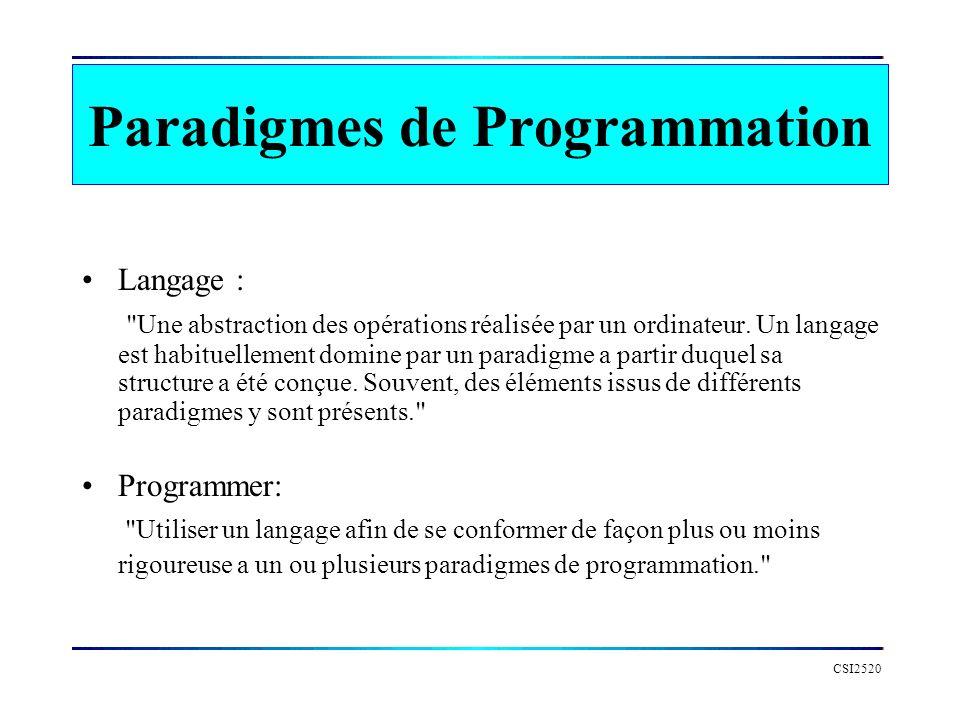 CSI2520 Paradigmes de Programmation Il nexiste pas de paradigmes uniques bon pour toutes les applications.