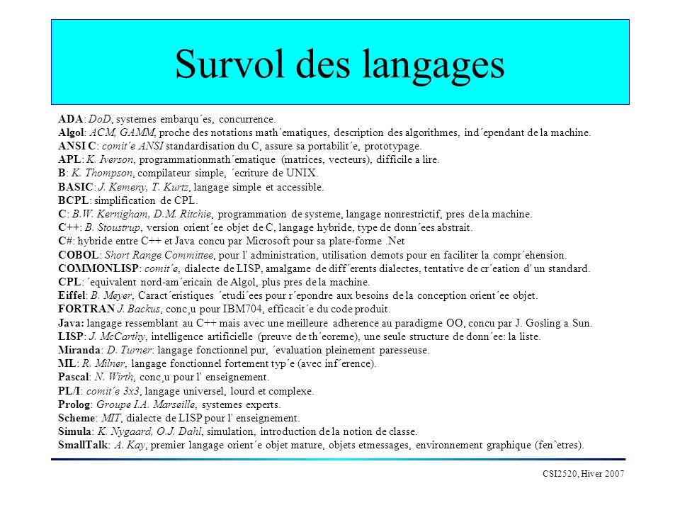 CSI2520, Hiver 2007 Conclusion Pourquoi tant de langages (semblables) .