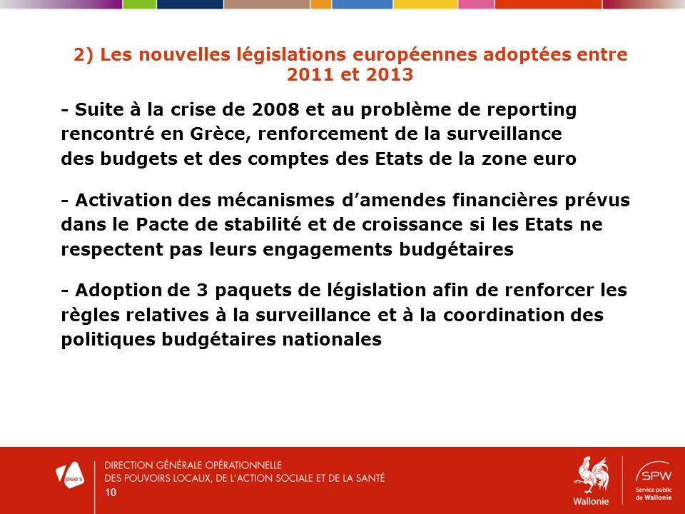 10 2) Les nouvelles législations européennes adoptées entre 2011 et 2013 - Suite à la crise de 2008 et au problème de reporting rencontré en Grèce, renforcement de la surveillance des budgets et des comptes des Etats de la zone euro - Activation des mécanismes damendes financières prévus dans le Pacte de stabilité et de croissance si les Etats ne respectent pas leurs engagements budgétaires - Adoption de 3 paquets de législation afin de renforcer les règles relatives à la surveillance et à la coordination des politiques budgétaires nationales