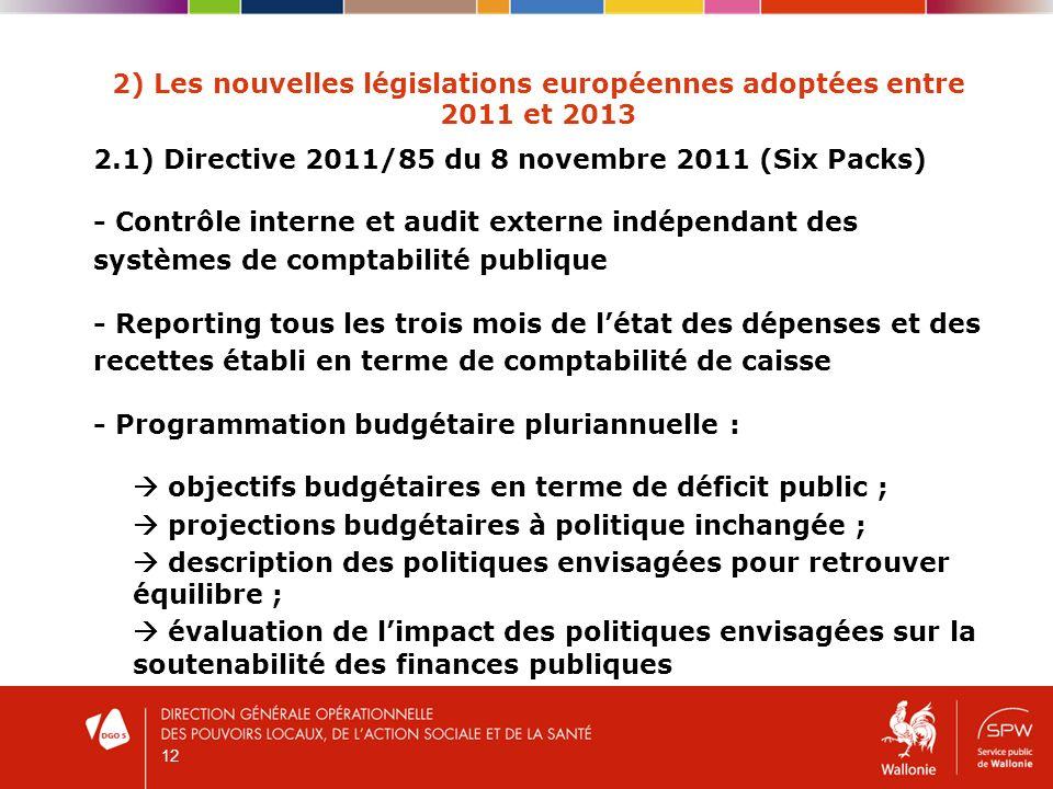 12 2) Les nouvelles législations européennes adoptées entre 2011 et 2013 2.1) Directive 2011/85 du 8 novembre 2011 (Six Packs) - Contrôle interne et audit externe indépendant des systèmes de comptabilité publique - Reporting tous les trois mois de létat des dépenses et des recettes établi en terme de comptabilité de caisse - Programmation budgétaire pluriannuelle : objectifs budgétaires en terme de déficit public ; projections budgétaires à politique inchangée ; description des politiques envisagées pour retrouver équilibre ; évaluation de limpact des politiques envisagées sur la soutenabilité des finances publiques