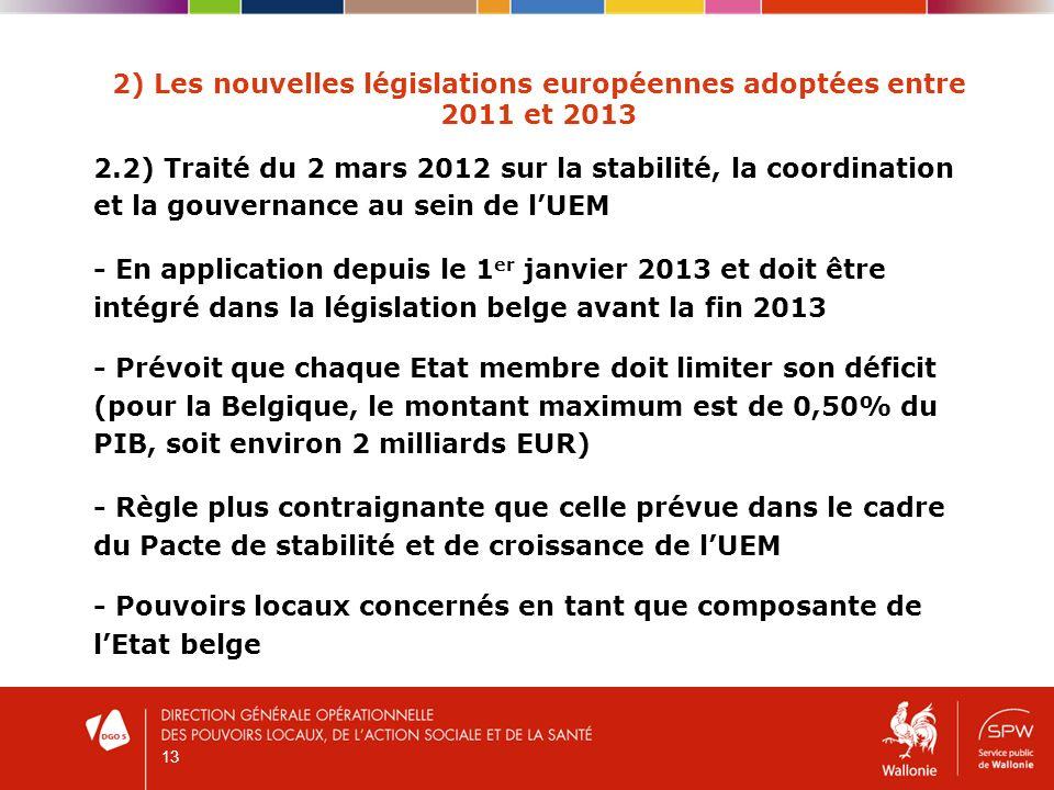 13 2) Les nouvelles législations européennes adoptées entre 2011 et 2013 2.2) Traité du 2 mars 2012 sur la stabilité, la coordination et la gouvernance au sein de lUEM - En application depuis le 1 er janvier 2013 et doit être intégré dans la législation belge avant la fin 2013 - Prévoit que chaque Etat membre doit limiter son déficit (pour la Belgique, le montant maximum est de 0,50% du PIB, soit environ 2 milliards EUR) - Règle plus contraignante que celle prévue dans le cadre du Pacte de stabilité et de croissance de lUEM - Pouvoirs locaux concernés en tant que composante de lEtat belge
