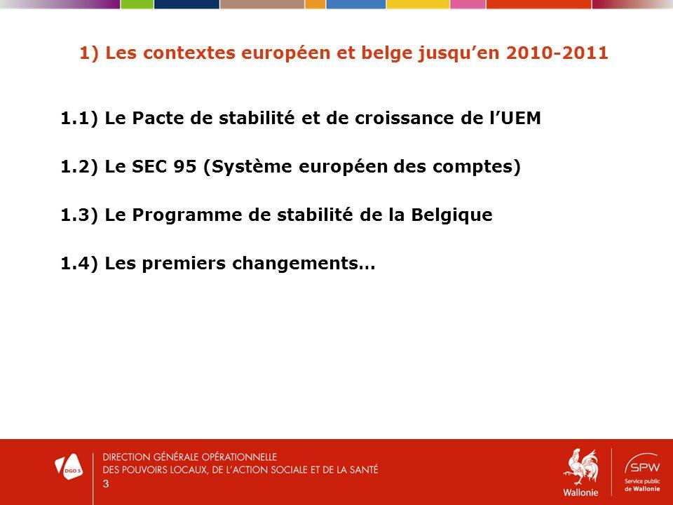 4 1) Les contextes européen et belge jusquen 2010-2011 1.1) Le Pacte de stabilité et de croissance de lUEM Instrument dont les Etats de la zone euro se sont dotés en 1997 afin de coordonner leurs politiques budgétaires nationales et éviter ainsi lapparition de déficits budgétaires jugés excessifs Déficit public annuel ne peut excéder 3% du PIB sinon (en principe) risque de sanctions financières de la part de lUE Dette publique ne peut excéder 60% du PIB ou doit diminuer pour tendre vers les 60% du PIB