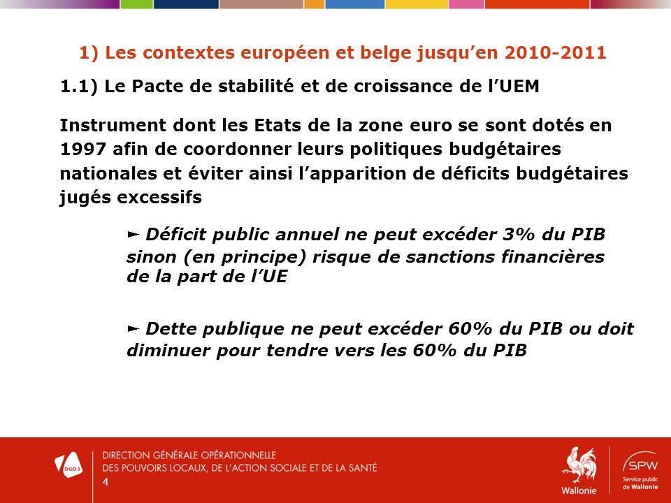 5 1) Les contextes européen et belge jusquen 2010-2011 1.2) Le SEC 95 (Système européen des comptes) - Système de reporting statistique utilisé par la Commission Européenne (EUROSTAT) pour déterminer si les Etats membres de la zone EURO respectent leurs obligations en matière budgétaire - Résultat SEC 95 = capacité dun pouvoir public à financer sur un seul exercice ses dépenses de personnel, de fonctionnement et dinvestissement besoin de financement si déficit capacité de financement si boni - Ne tient pas compte des recettes et des dépenses de dette liées à des remboursements demprunts