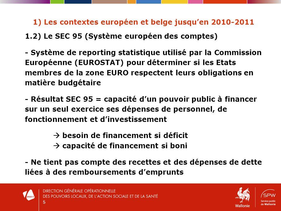 6 1) Les contextes européen et belge jusquen 2010-2011 1.3) Le Programme de stabilité de la Belgique - Document transmis chaque année à la Commission européenne (EUROSTAT) afin que celle-ci vérifie que la Belgique respecte ses engagements dans le cadre du Pacte de stabilité et de croissance - Document établi par le Fédéral en concertation avec les Régions et les Communautés afin de fixer les orientations et les objectifs de la politique budgétaire pour une période de 4 à 5 ans - ICN est létablissement chargé de collecter les données budgétaires et comptables et de les traduire en SEC95 avant de les transmettre à la Commission européenne