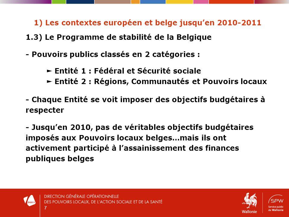 7 1) Les contextes européen et belge jusquen 2010-2011 1.3) Le Programme de stabilité de la Belgique - Pouvoirs publics classés en 2 catégories : Entité 1 : Fédéral et Sécurité sociale Entité 2 : Régions, Communautés et Pouvoirs locaux - Chaque Entité se voit imposer des objectifs budgétaires à respecter - Jusquen 2010, pas de véritables objectifs budgétaires imposés aux Pouvoirs locaux belges…mais ils ont activement participé à lassainissement des finances publiques belges