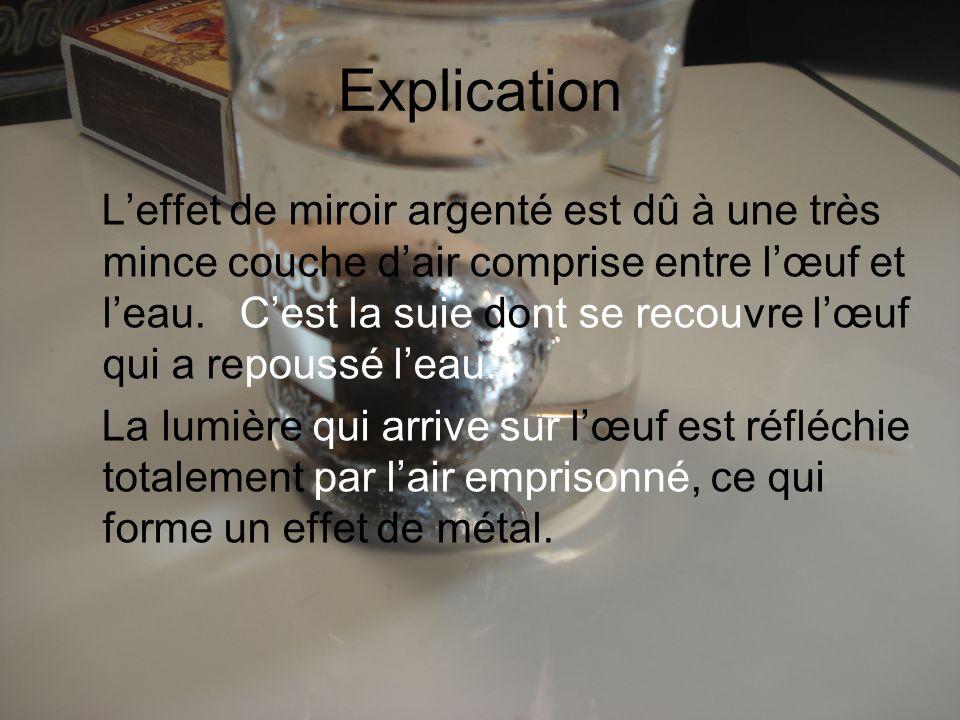 Explication Leffet de miroir argenté est dû à une très mince couche dair comprise entre lœuf et leau. Cest la suie dont se recouvre lœuf qui a repouss