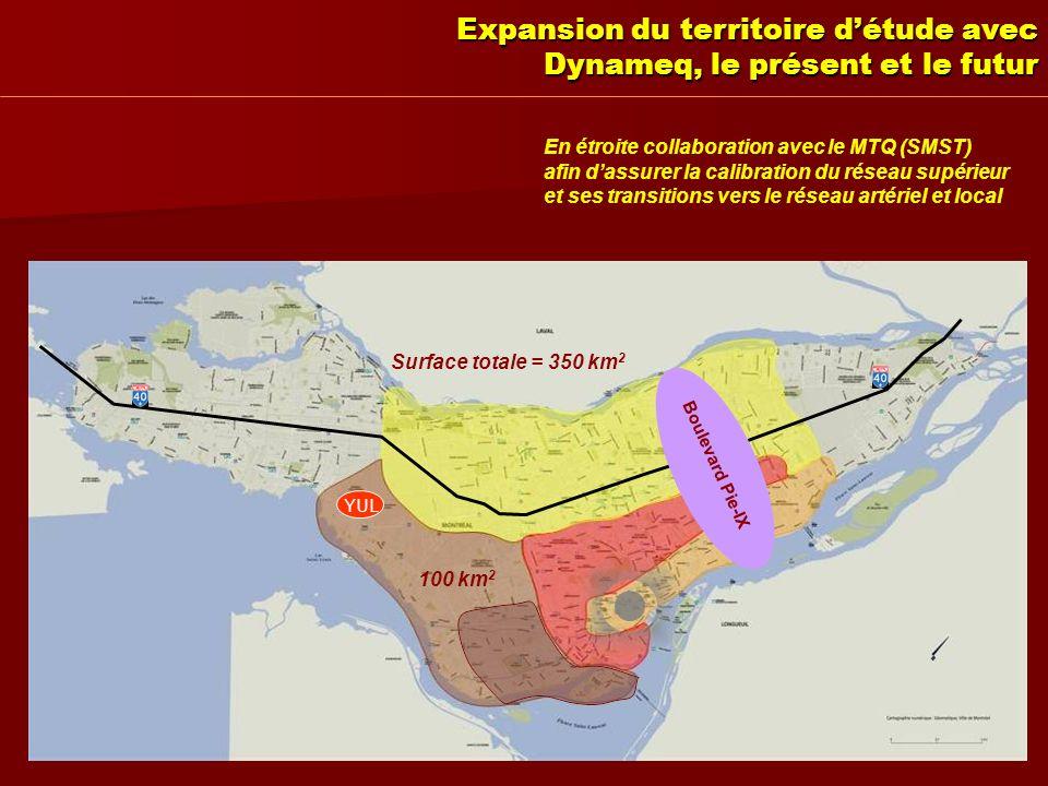 Expansion du territoire détude avec Dynameq, le présent et le futur En étroite collaboration avec le MTQ (SMST) afin dassurer la calibration du réseau supérieur et ses transitions vers le réseau artériel et local 50 km 2 150 km 2 100 km 2 Surface totale = 350 km 2 YUL Boulevard Pie-IX