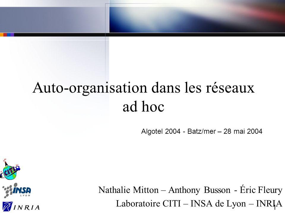 1 Nathalie Mitton – Anthony Busson - Éric Fleury Laboratoire CITI – INSA de Lyon – INRIA Auto-organisation dans les réseaux ad hoc Algotel 2004 - Batz