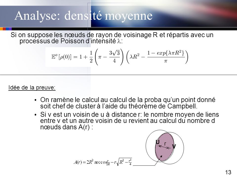 13 Analyse: densité moyenne Si on suppose les nœuds de rayon de voisinage R et répartis avec un processus de Poisson dintensité : On ramène le calcul
