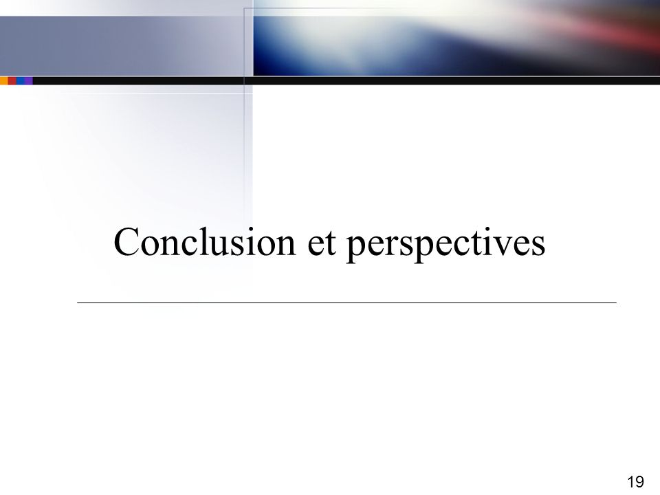 19 Conclusion et perspectives