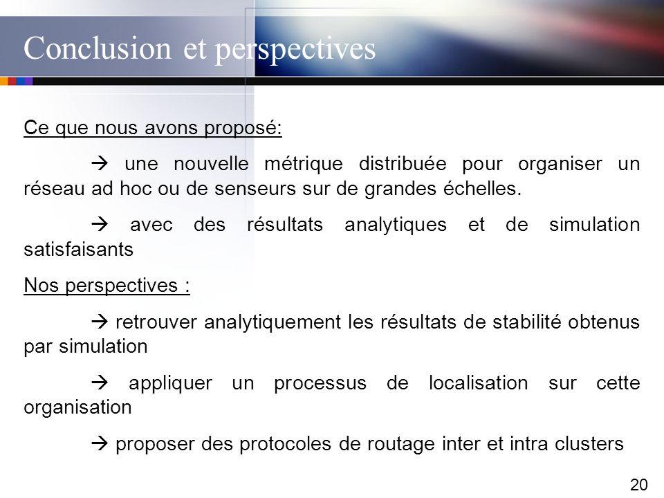 20 Conclusion et perspectives Ce que nous avons proposé: une nouvelle métrique distribuée pour organiser un réseau ad hoc ou de senseurs sur de grande