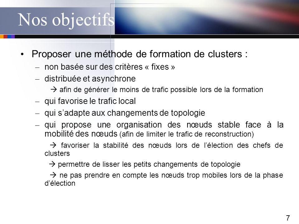 7 Nos objectifs Proposer une méthode de formation de clusters : – non basée sur des critères « fixes » – distribuée et asynchrone afin de générer le m