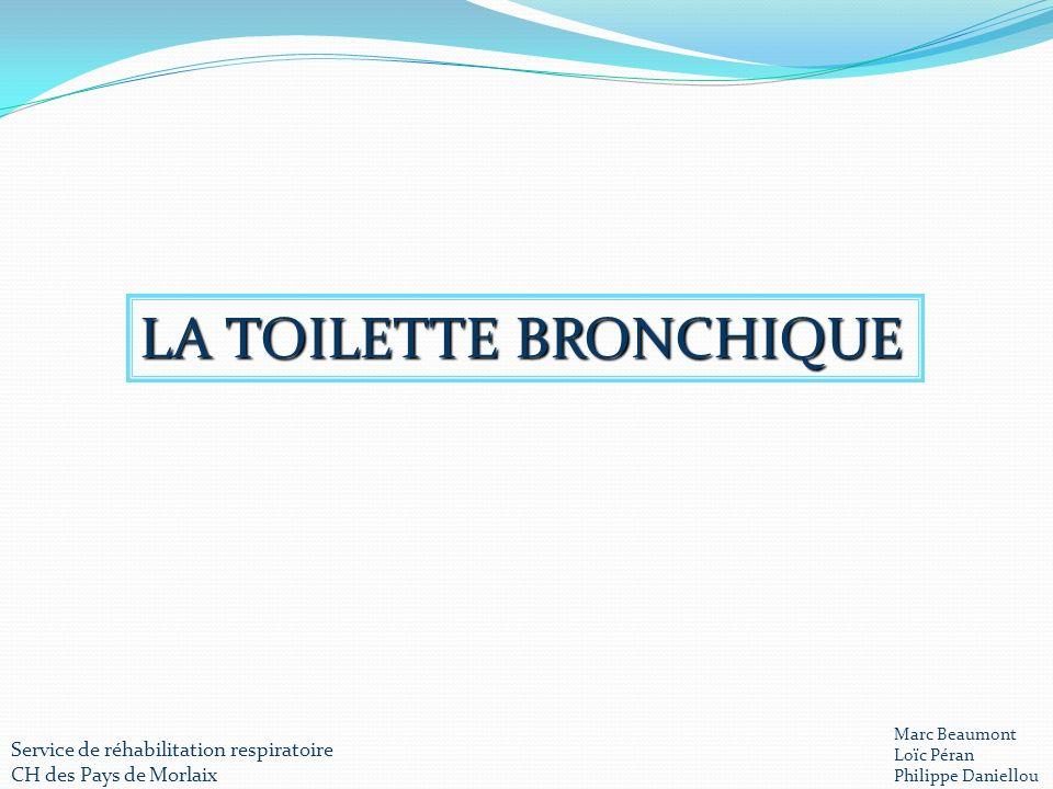 LA TOILETTE BRONCHIQUE Service de réhabilitation respiratoire CH des Pays de Morlaix Marc Beaumont Loïc Péran Philippe Daniellou