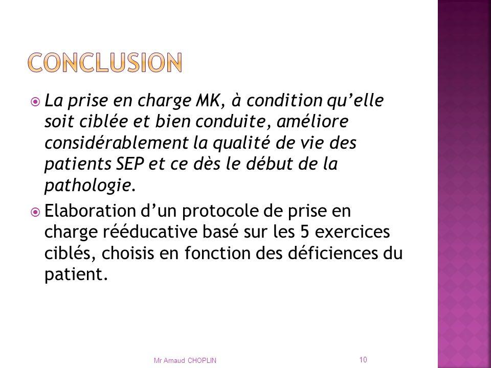 La prise en charge MK, à condition quelle soit ciblée et bien conduite, améliore considérablement la qualité de vie des patients SEP et ce dès le début de la pathologie.