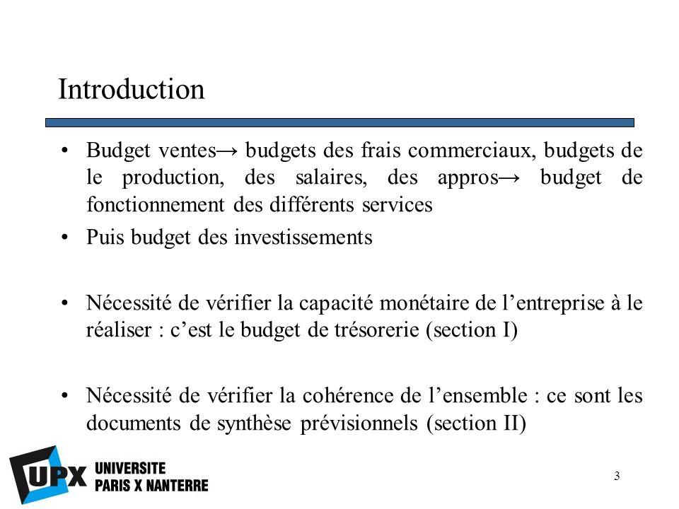 14 Section I Le budget de trésorerie 4.