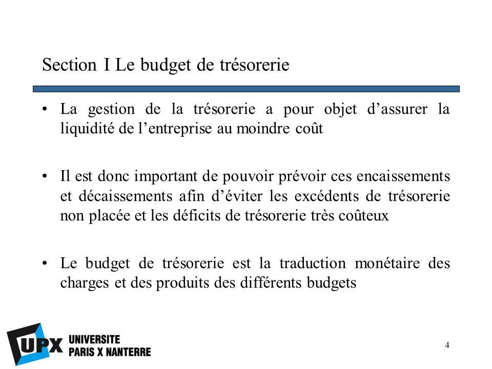 5 Section I Le budget de trésorerie 1.