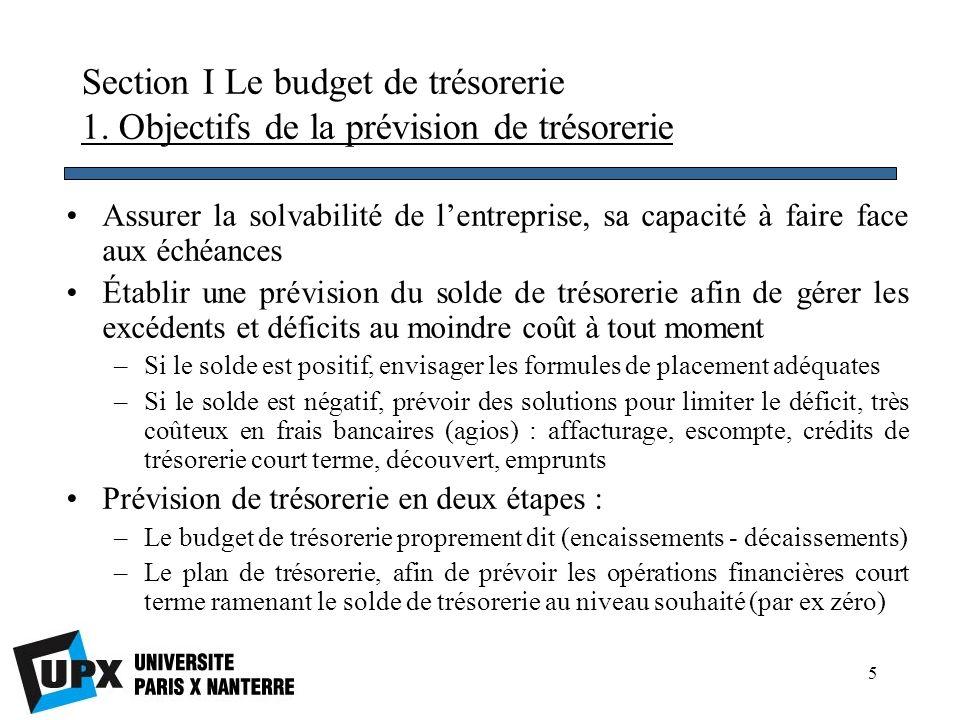 16 Budget général : instrument de synthèse de lensemble des prévisions budgétaires qui doit être cohérent avec le plan opérationnel Validation de la régularité des prévisions : la consolidation des prévisions permet dassurer la cohérence des différents budgets, souvent établis de façon décentralisée Le budget général sert de cadrage général pour lactivité : il permettra, grâce au contrôle budgétaire, de calculer des écarts entre les objectifs et les réalisations, de les analyser et de rectifier la trajectoire le cas échéant (reprévision ou reforecast) Section II Les documents de synthèse prévisionnels