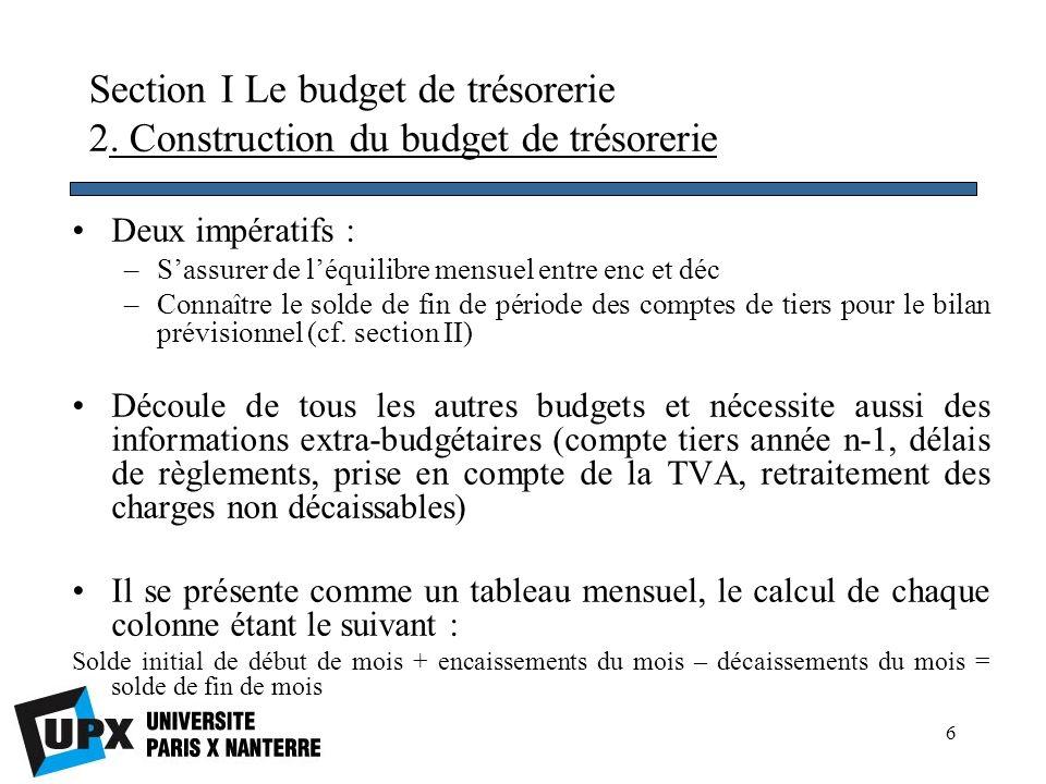 7 Section I Le budget de trésorerie 2.