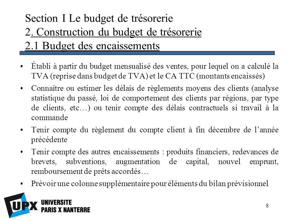 9 Section I Le budget de trésorerie 2.