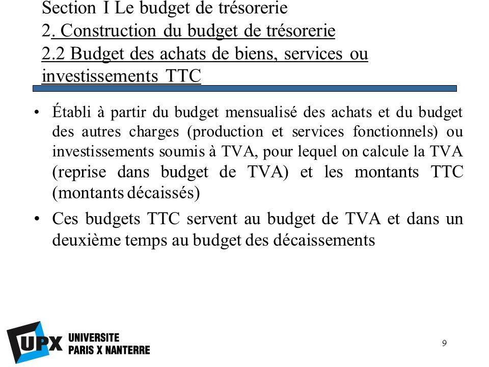 10 Section I Le budget de trésorerie 2.