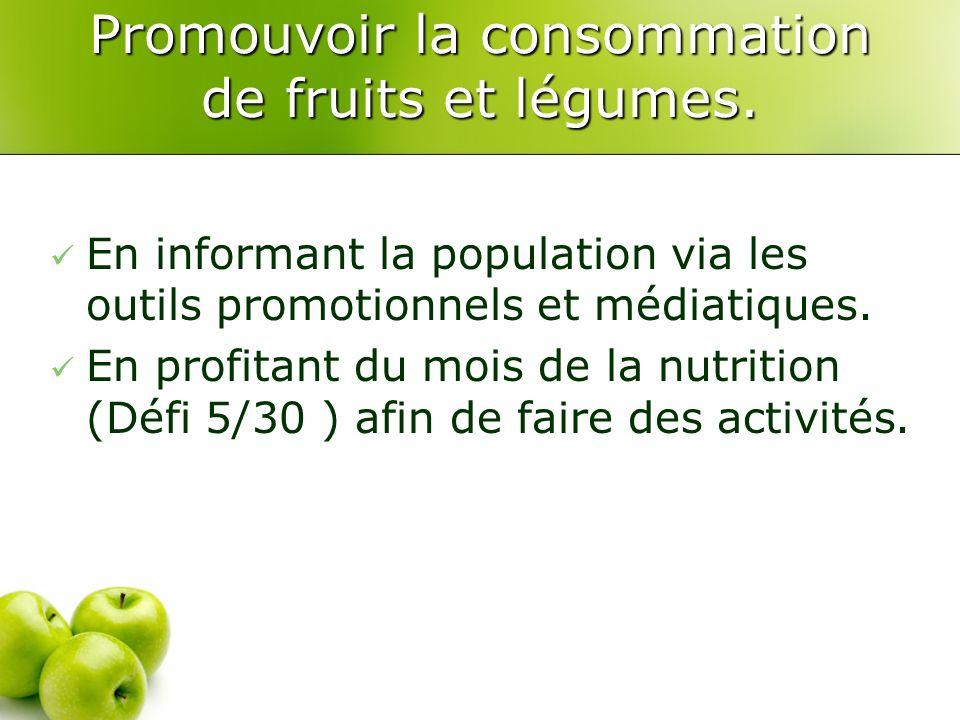 Promouvoir la consommation de fruits et légumes.
